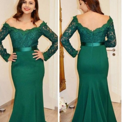 Mermaid Off-the-Shoulder Long Sleev..