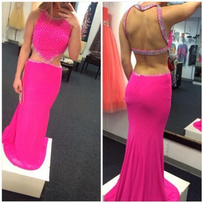 High Quality EVENING Dress Mermiad PARTY Dress Halter Prom Dress Sexy Backless Prom Dres Beading Prom Dress