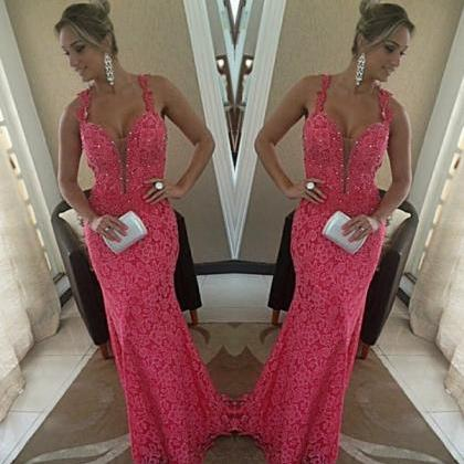 High Quality EVENING Dress Charming Prom Dress Coral Lace PARTY Dress V-Neck Prom Dress Mermaid Prom Dress
