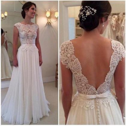 Charming wedding Dress A-Line wedding gowns Lace Prom Dress Backless Evening Dress