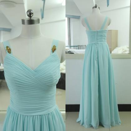 Light Sky Blue Prom Dresses,Chiffon..