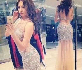 Charming EVENING Dress Sequined PARTY Dress Mermaid Prom Dress Backless Prom Dress Sexy Prom Dress