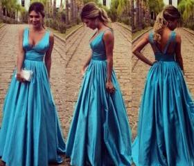 High Quality EVENING Dress Charming Prom Dress V-Neck Prom Dress Satin PARTY Dress Backless Prom Dress