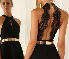 Cut Out Little Black Dress With Lace Back ,Backless Short Prom Dress Sweet 16 Gown,Homecoming Dresses