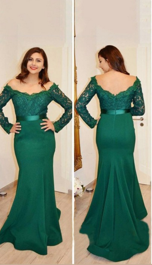 Mermaid Off-the-Shoulder Long Sleeves Applique Floor-Length Satin Dresses