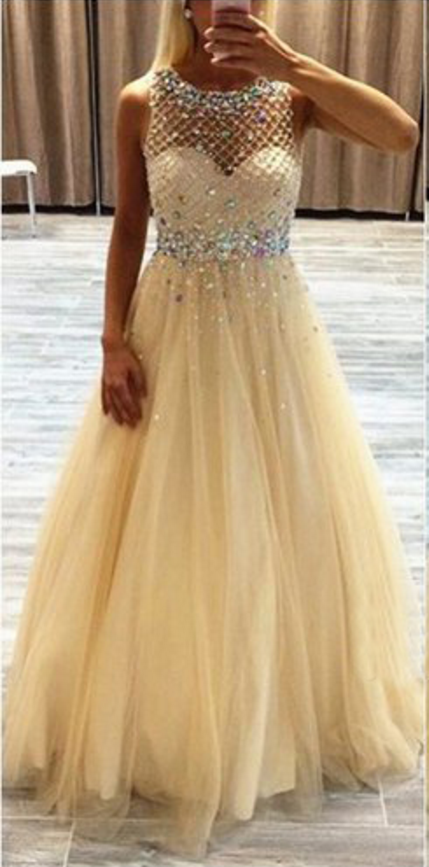 Yellow Tulle Backless Prom Dresses , Backless Beading Bodice Evening Dresses