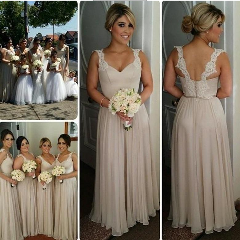 Long Bridesmaid Dress, Light Gray Bridesmaid Dress, Cheap Bridesmaid Dress, Chiffon Bridesmaid Dress, Lace Straps Bridesmaid Dress, Elegant Bridesmaid Dresses