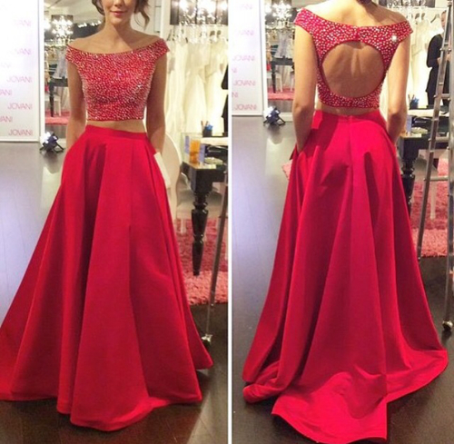 Charming Prom Dress,2 Pieces Prom Dress,O-Neck Prom Dress,Beading Prom Dress,Backless Prom Dress