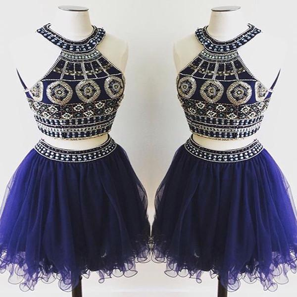 Navy Blue Homecoming Dress,Homecoming Dresses,Tulle Homecoming Dress,A Line Party Dress,Green Short Prom Gown,Sweet 16 Dress,Beading Homecoming Gowns
