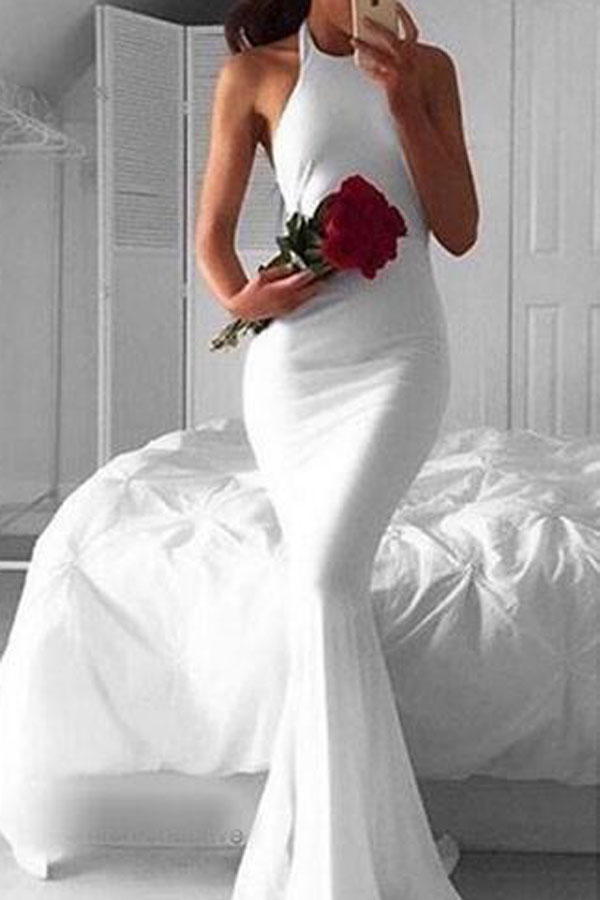 Prom Dresses,Evening Dress,Party Dresses,Simple Halter Long Sleeveless White Mermaid Prom Dress,Cheap Prom Dress,Evening Gowns for Teens