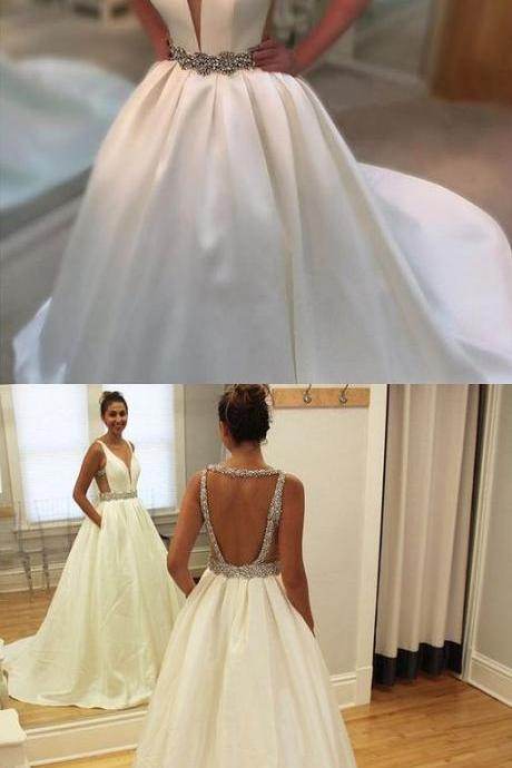 White Prom Dress,Backless Party Dress,Beaded Evening Dress,V-Neck Prom Dress