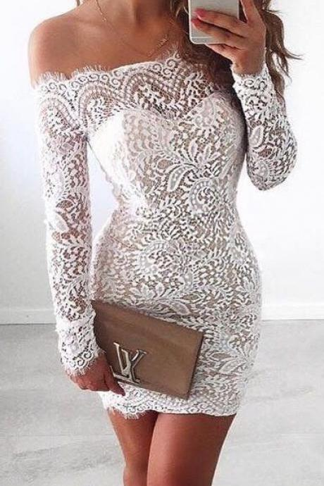 Lace Homecoming Gown,Bodice Sexy Mini Dress,Off the shoulder Long Sleeves Dress