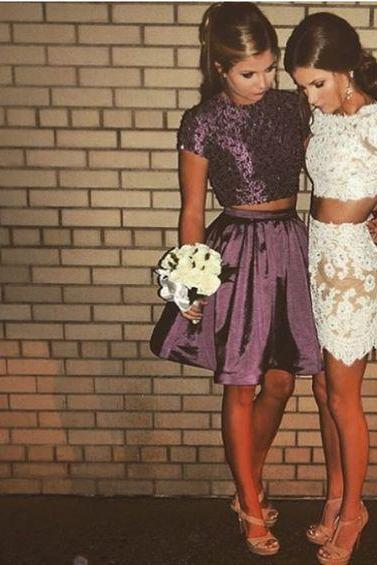 Two Pieces Charming Homecoming Dress,Lace Short Dress,Mini Sexy Dress,High Quality(the right one)