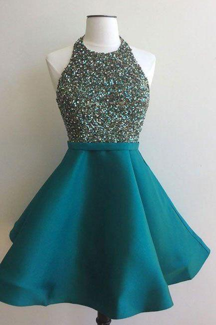 homecoming dresses,sequin short green prom dress, satin homecoming dress