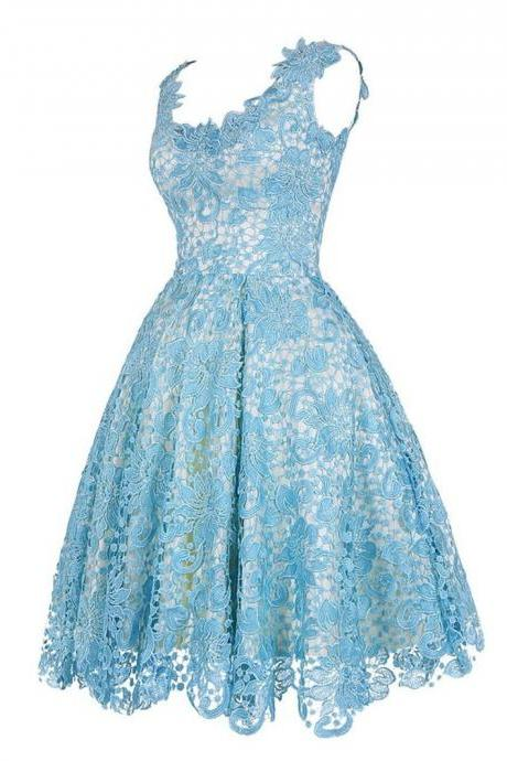 Graduation Dresses Vestidos De Baile Light Blue Lace Short Homecoming Dress