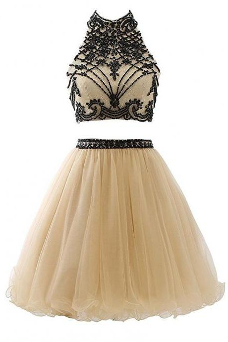 Short Dresses for Graduation Para Formatura Champagne Two Piece Homecoming Dresses