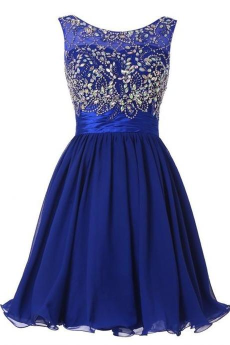 Girls Graduation Dress Royal Blue Chiffon Beaded Crystals Homecoming Dresses Short