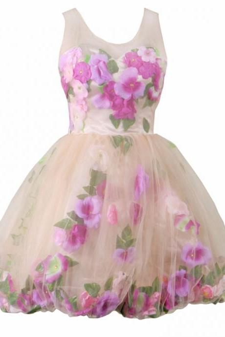Colorful Homecoming Dresses Keyhole Back Short Graduation Dresses Flowers Prom Evening Party Real Vestidos