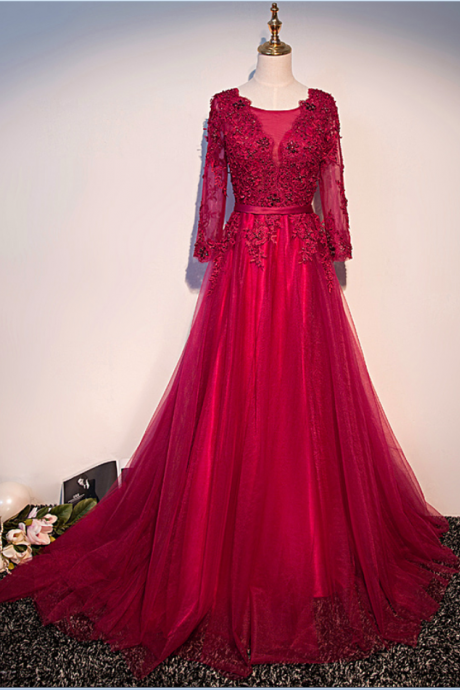 Elegant Dark Red Tulle Beads Appliques Prom Dresses,Scoop Neck Long Sleeves A Line Party Gowns, Evening Dresses