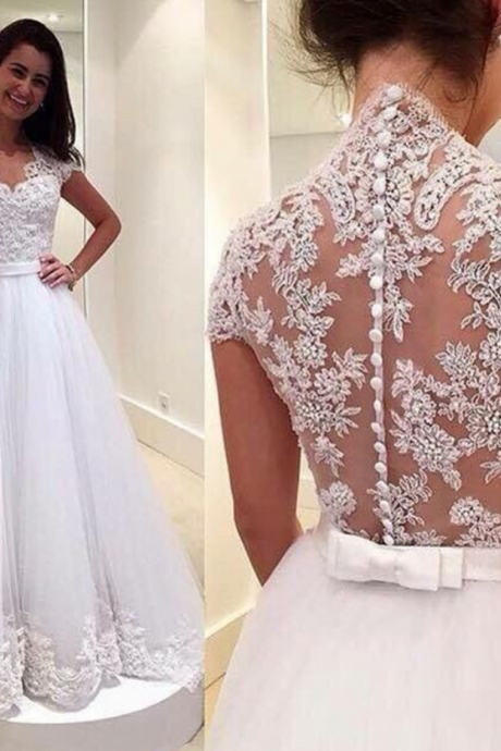 V-Neck Cap-Sleeved Lace A-line Wedding Dress Featuring Sheer Lace Back