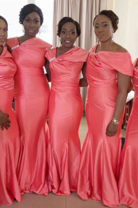 Coral Pink Satin Mermaid Bridesmaid Dress with Rhinestone Embellishment