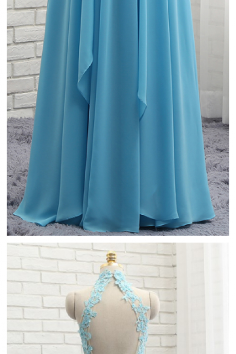 Prom Dresses, A-line High Collar Sky Blue Chiffon Lace Sexy Long Prom Gown ,Evening Dresses, Evening Gown