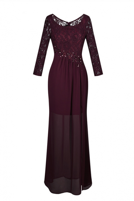 Women's Long Bridesmaid Dress Scoop Neck Lace Long Sleeve Transparent Beading Pleat Slit Wine Red