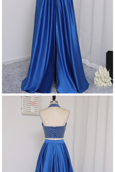 Prom Dresses ,A-line High Collar Floor Length Pearl Two Pieces Prom Gown, Evening Dresses ,Evening Gown