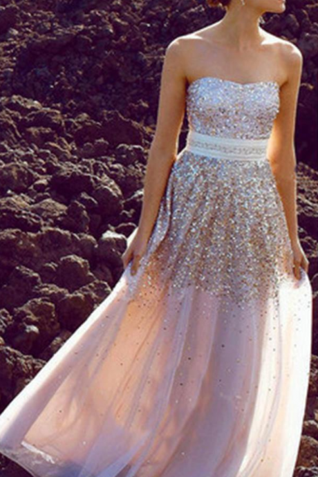 Glittering Strapless Prom Dresses,Shiny Prom Dresses,Party Dresses,Cocktail Prom Dresses
