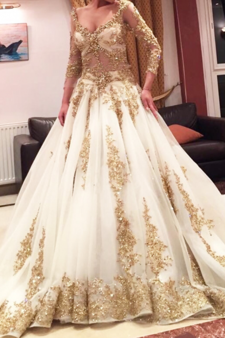 Gold Lace Appliqués Plunge V Long Sleeves Floor Length Wedding Gown Featuring Chapel Train