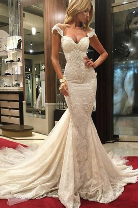 Lace Appliques Off-The-Shoulder Sweetheart Floor Length Mermaid Wedding Dress Featuring Illusion Open Back and Train