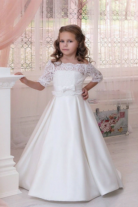Off-the-Shoulder Lace A-line Flower Girl Dress with Mid-Length Sleeves