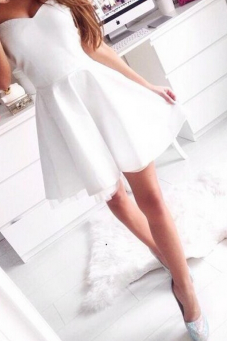 Cheap homecoming dresses White Short Strapless Homecoming Dress Prom Dress