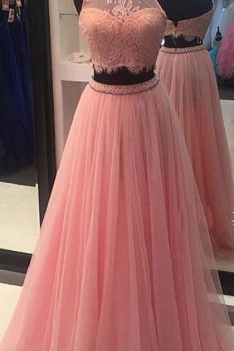 Two Piece High Neck Prom Dress,Cheap Lace Prom Dress,Formal Dress, Sexy Gril Dress, Floor-Length Prom Dresses, Evening Dresses, Custom Dress