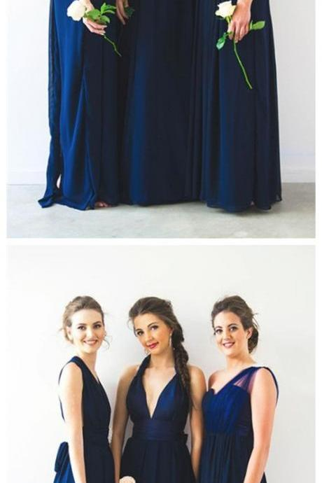 simple navy blue one shoulder bridesmaid dresses, cheap mismatched long bridesmaid dresses with pleats, elegant chiffon long wedding party dresses