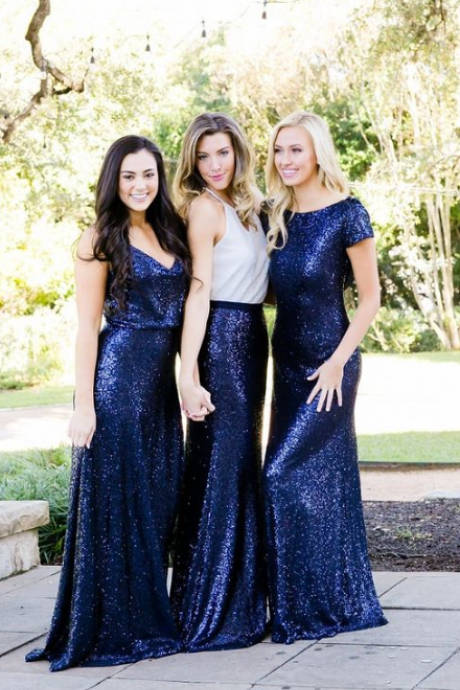 Long Royal Blue Bridesmaid Dresses, Sequin Bridesmaid Dresses, Sparkly Bridesmaid Dresses