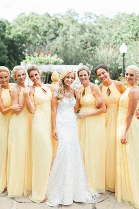 Keyhole Daffodil Pleated Chiffon Bridesmaid Dresses, Light Yellow Bridesmaid Dresses, Long Bridesmaid Dresses