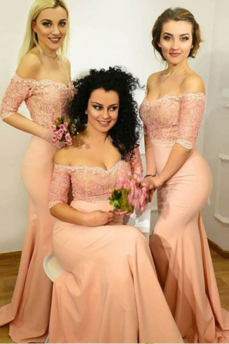 Mermaid Bridesmaid Dresses with Lace, Off the Shoulder Bridesmaid Dresses, Long pink Bridesmaid Dresses