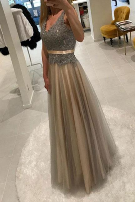 v neck lace tulle long prom dress, lace evening dress