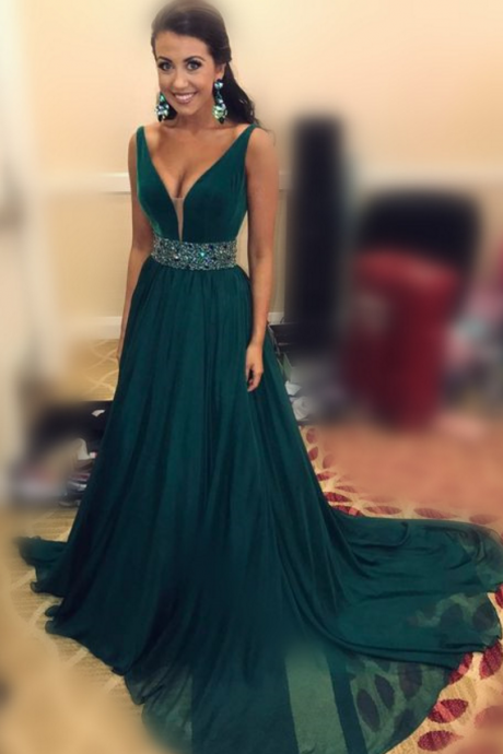 Charming Prom Dress,Chiffon Prom Dress, A-Line Prom Dress,V-Neck Evening Dress