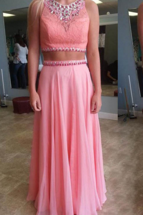 Two piece Prom Dress,Pink Beautiful Prom Gown,Floor Length Prom Dresses