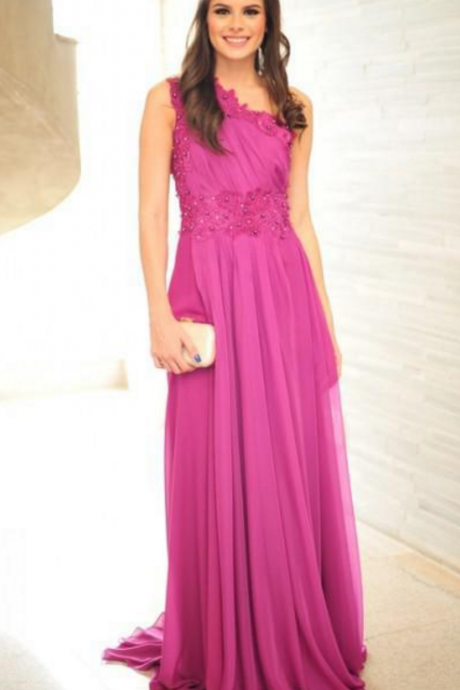 prom dresses,fuschia prom dresses,one shoulder evening dresses long ,evening dresses