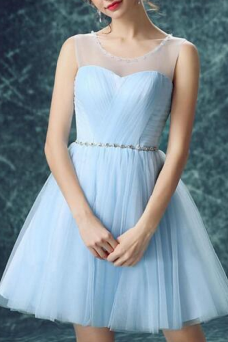 Cute Short Light Blue Scoop Perspective Straps Knee-length Tulle homecoming dress Bridesmaid Dress