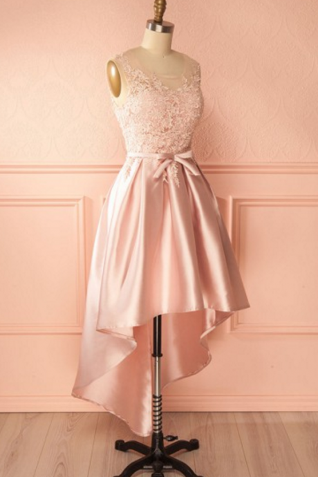 Pink lace high low homcoming dress, simple pink homcoming dresses,bowknot prom dresses