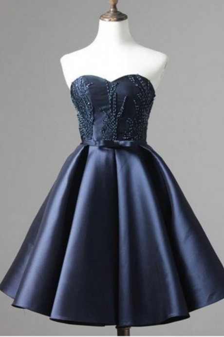 Navy Matte Satin Homecoming Dresses A-Line/Column Beaded Mini Sweetheart Neckline Laced Up A-Line/Column