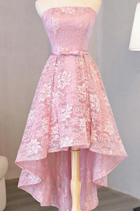 Customized Princess Homecoming Prom Dresses Short Pink Dresses With Lace Up Bowknot High-Low Appealing Prom Dresses