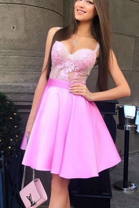 Short Graduation Dress, Pink Short Party Dress, Homecoming Dress