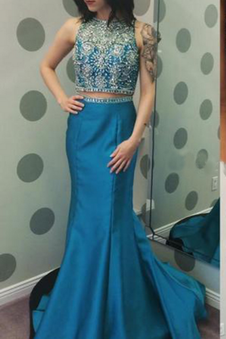 2 Piece Prom Gowns,Two Piece Prom Dresses,Beaded Prom Dresses,Mermaid Prom Dresses,Sexy Two Pieces Formal Gowns,Mermaid Party Dresses,Satin Cocktail Dress