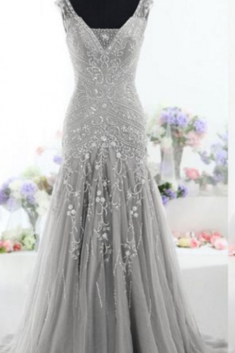Gorgeous Mermaid Long Tulle Prom Dress evening Dress with lace up back
