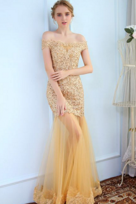Trumpet/Mermaid prom dresses,Gold Off-the-shoulder Applique Floor Length Tulle Evening Dress Prom Dresses